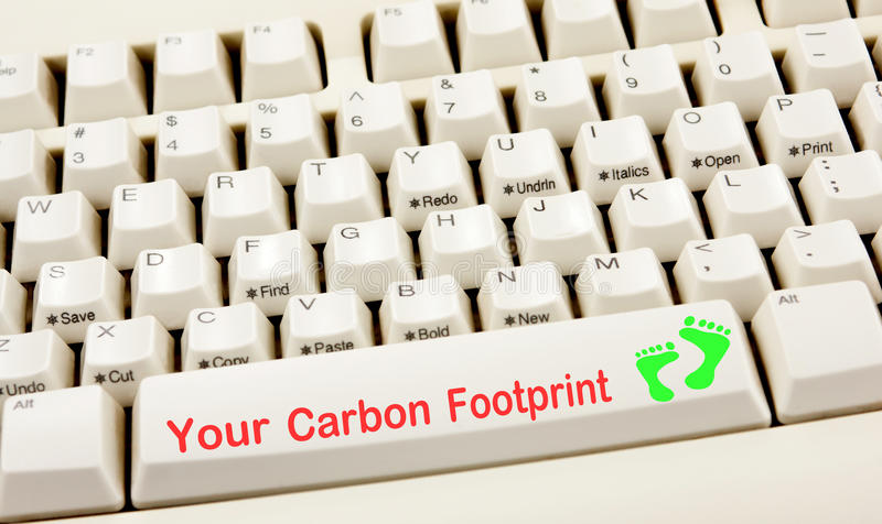 Carbon Footprint Keyboard. Your carbon footprint white keyboard stock images