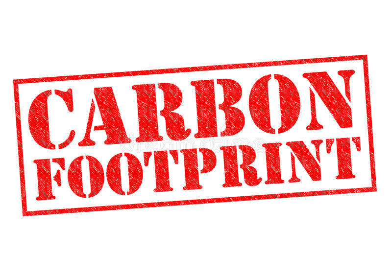 CARBON FOOTPRINT. Red Rubber Stamp over a white background stock photos