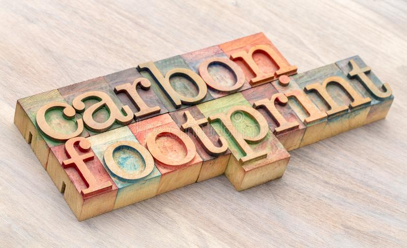 Carbon footprint word abstract in wood type. Carbon footprint word abstract in letterpress wood type printing blocks stock images