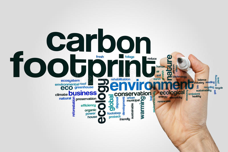 Carbon footprint word cloud concept on grey background.  royalty free stock images