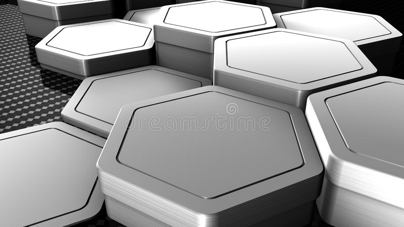 Carbon and metallic material hexagons background template. 3d Render. Illustration stock illustration