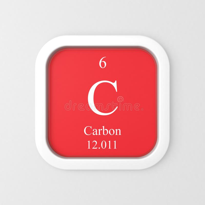Carbon Symbol On Red Rounded Square Stock Illustration