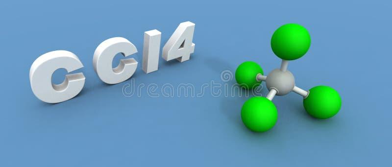 Carbon tetrachloride molecule vector illustration