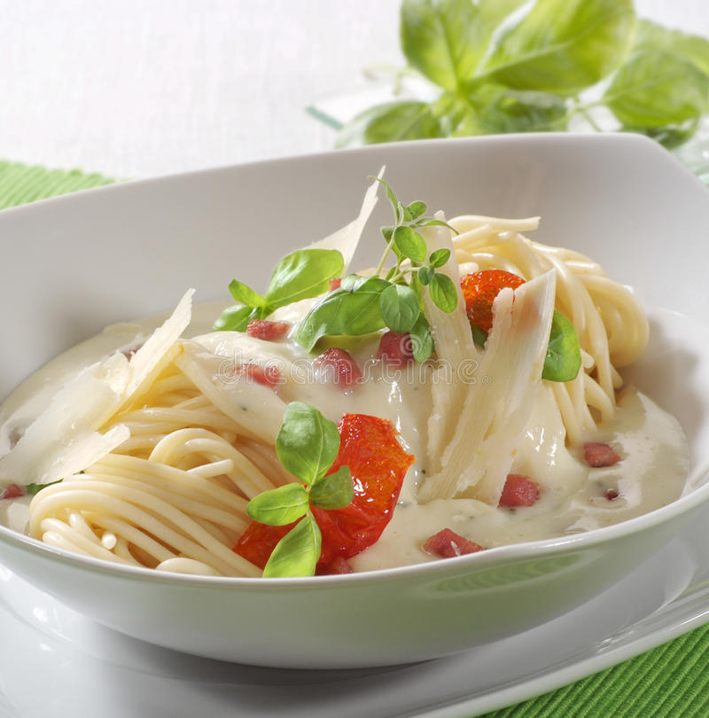 Carbonara del alla del espagueti fotos de archivo