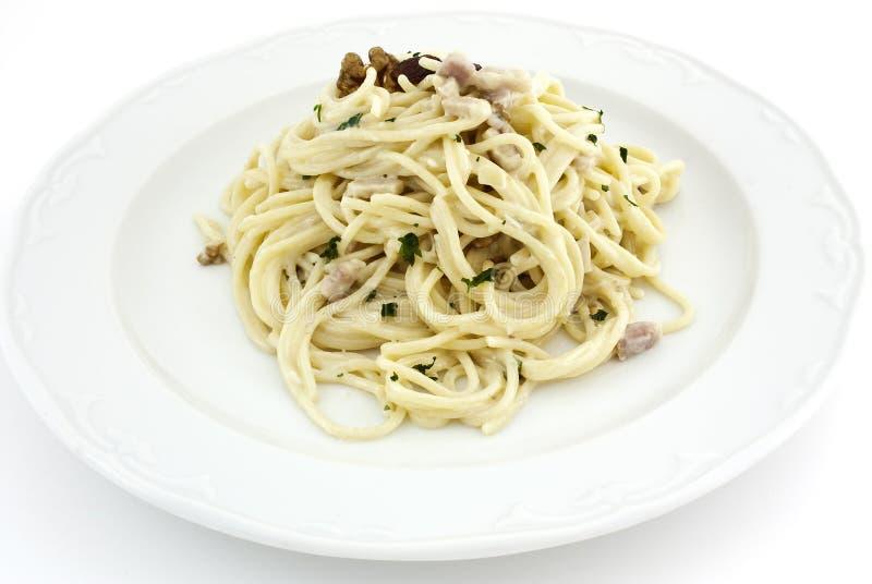 carbonaraspaguetti arkivbild