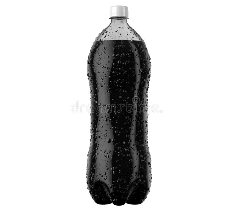 Carbonated Cola Soft Drink Plastic Bottle. An irregular shaped plastic two liter cola soda bottle with condensation droplets on an isolated white studio vector illustration