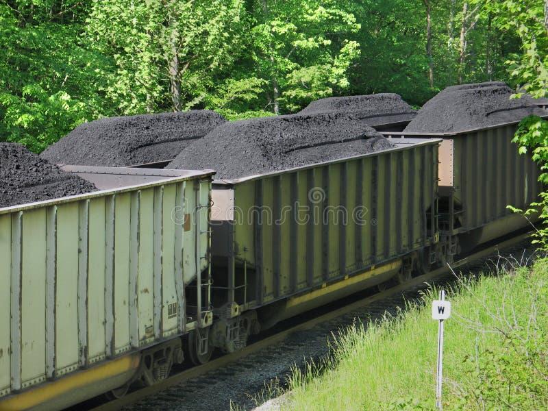 Carbone accatastato in automobili di ferrovia fotografia stock libera da diritti
