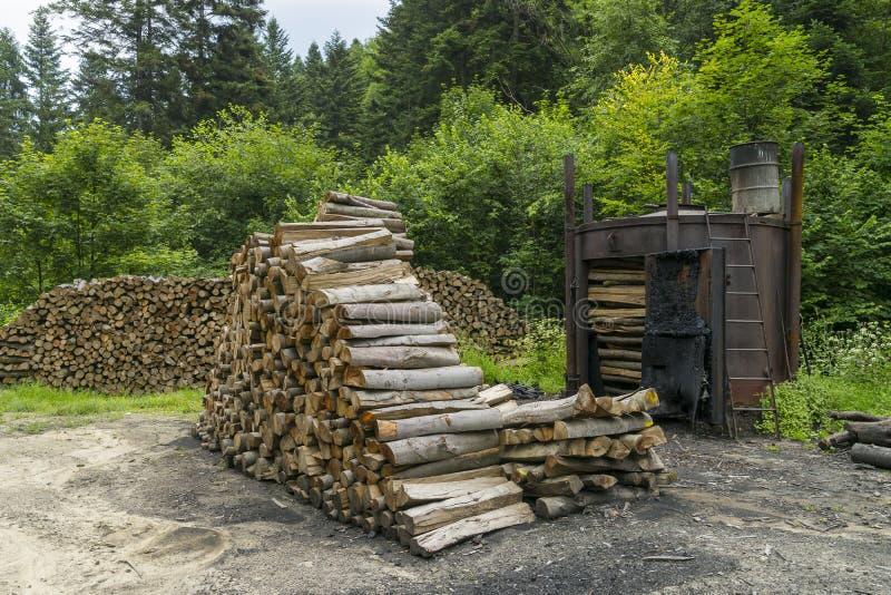 Carbone di legna Burning immagine stock libera da diritti