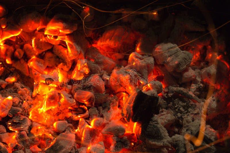 Carbone di legna Burning fotografia stock