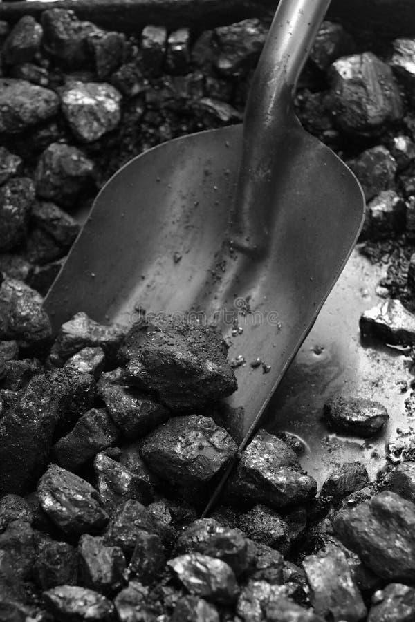 Carbone e pala del treno del vapore immagine stock libera da diritti