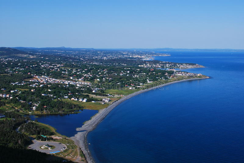 Carbonear town scenic. Aerial view of Carbonear town with blue ocean, Conception Bay, Newfoundland and Labrador, Canada royalty free stock photography