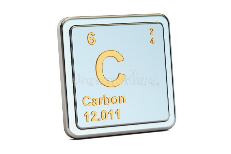 Carbonio C, segno dell'elemento chimico rappresentazione 3d royalty illustrazione gratis