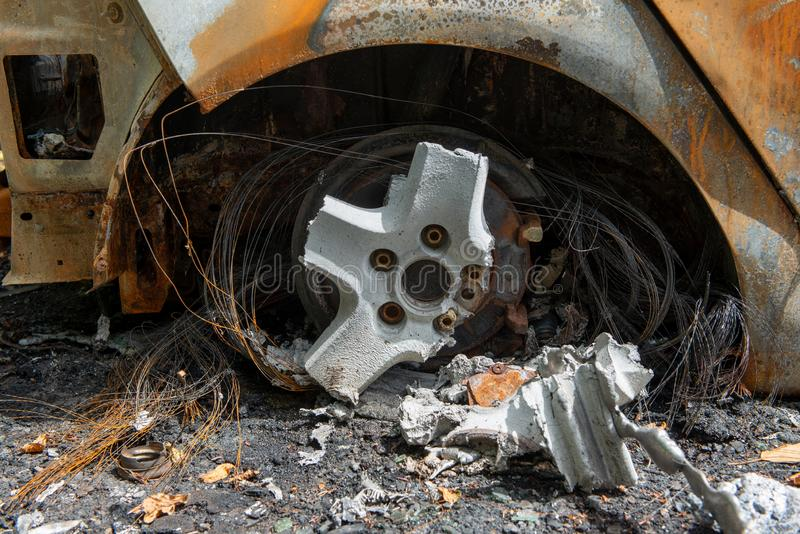 Carbonized car. Completely burnt out and carbonised car stock photography