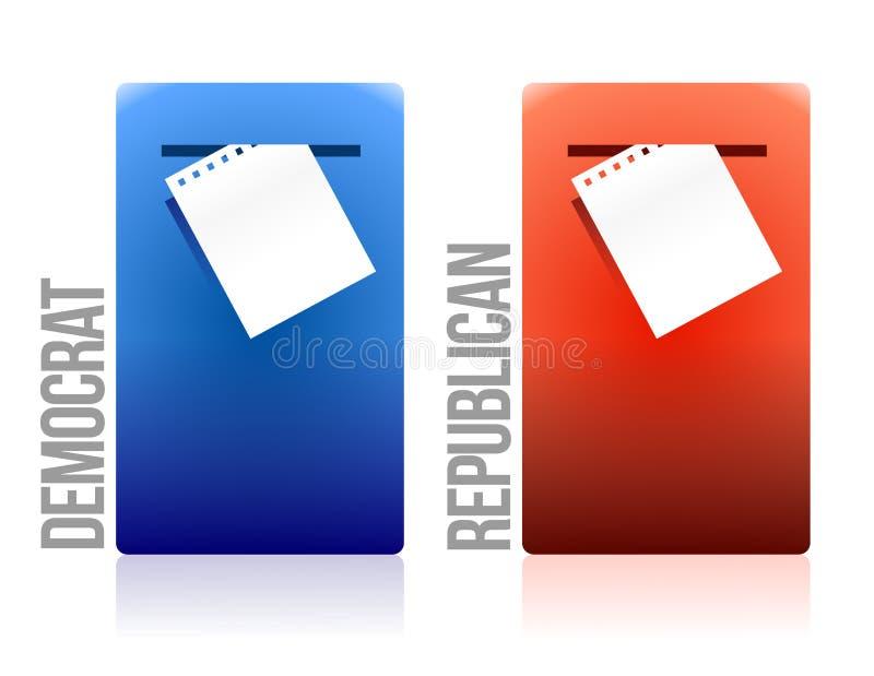 Carbossimetilazione e repubblicano di voto della scheda elettorale illustrazione vettoriale