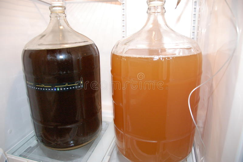 Carboy домашнего brew заквашивая стоковые фотографии rf