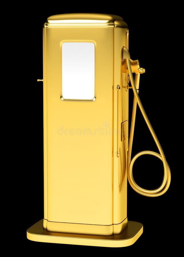 Carburant cher : pompe à essence d'or d'isolement images libres de droits