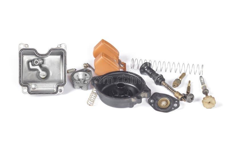 Carburateur du démontage de pièce de moto image stock