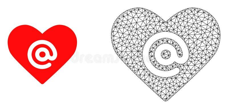 Carcaça Mesh Dating Heart Address do vetor e ícone liso ilustração do vetor