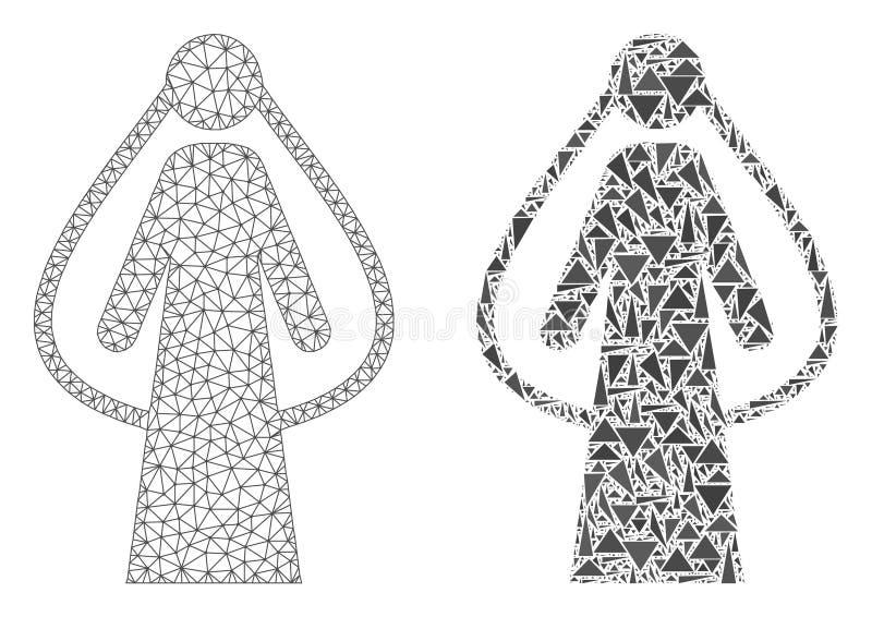 Carcaça poligonal Mesh Bride e ícone do mosaico ilustração stock