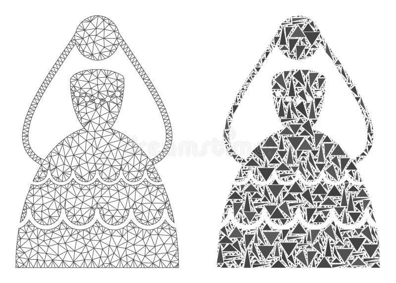 Carcaça poligonal Mesh Bride e ícone do mosaico ilustração do vetor