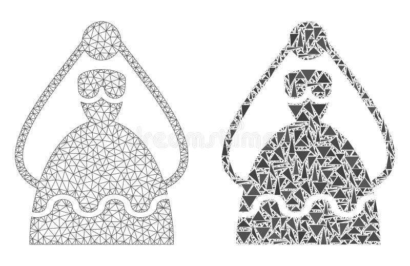 Carcaça poligonal Mesh Bride e ícone do mosaico ilustração royalty free