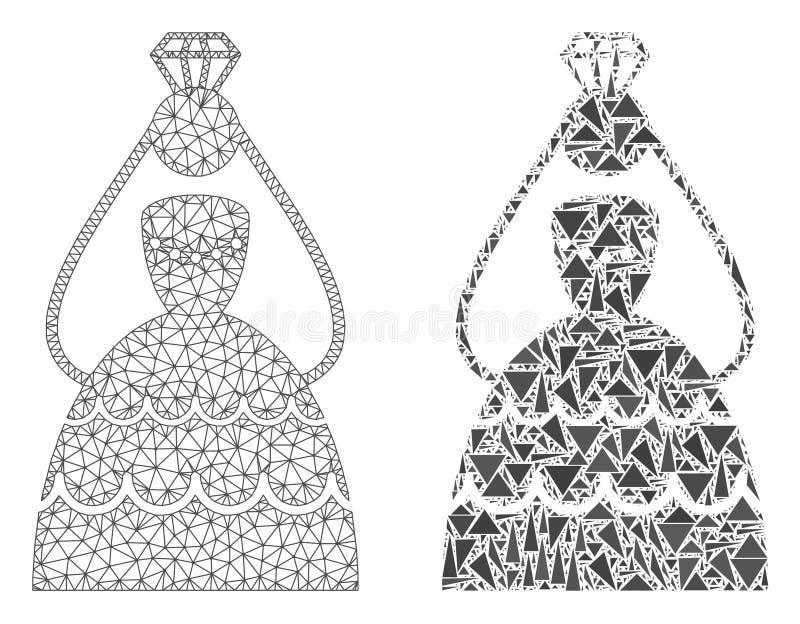 Carcaça poligonal Mesh Crowned Bride e ícone do mosaico ilustração stock