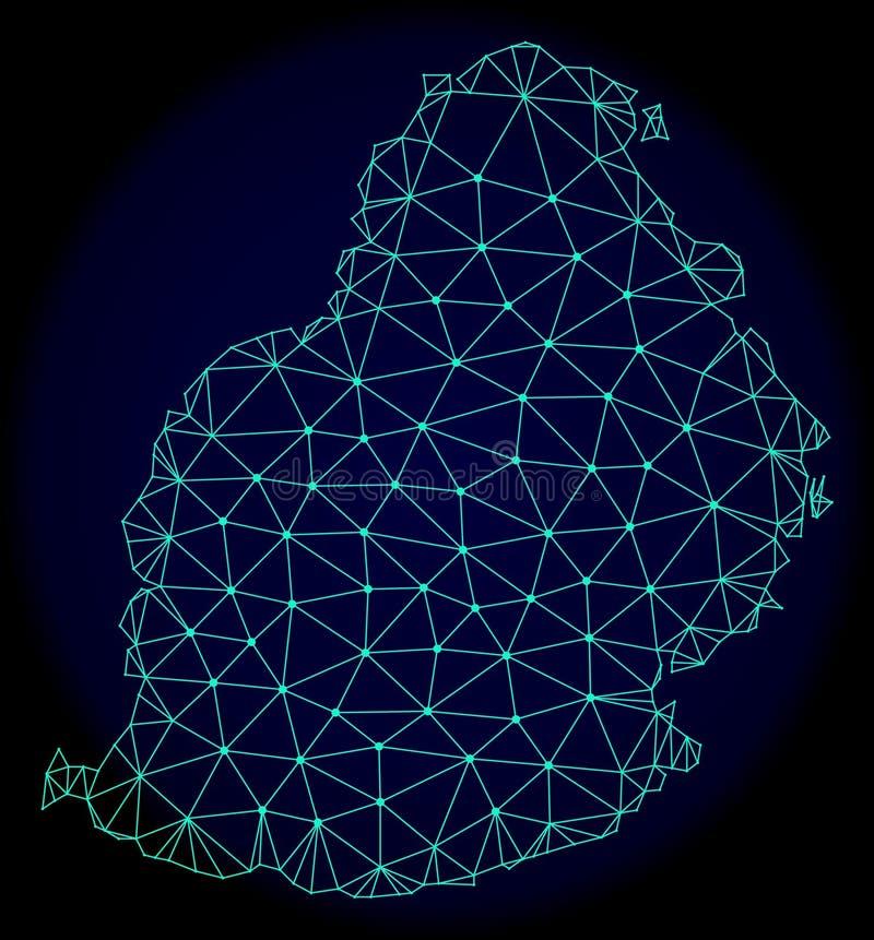 Carcaça poligonal Mesh Vetora Abstract Map de Mauritius Island ilustração stock