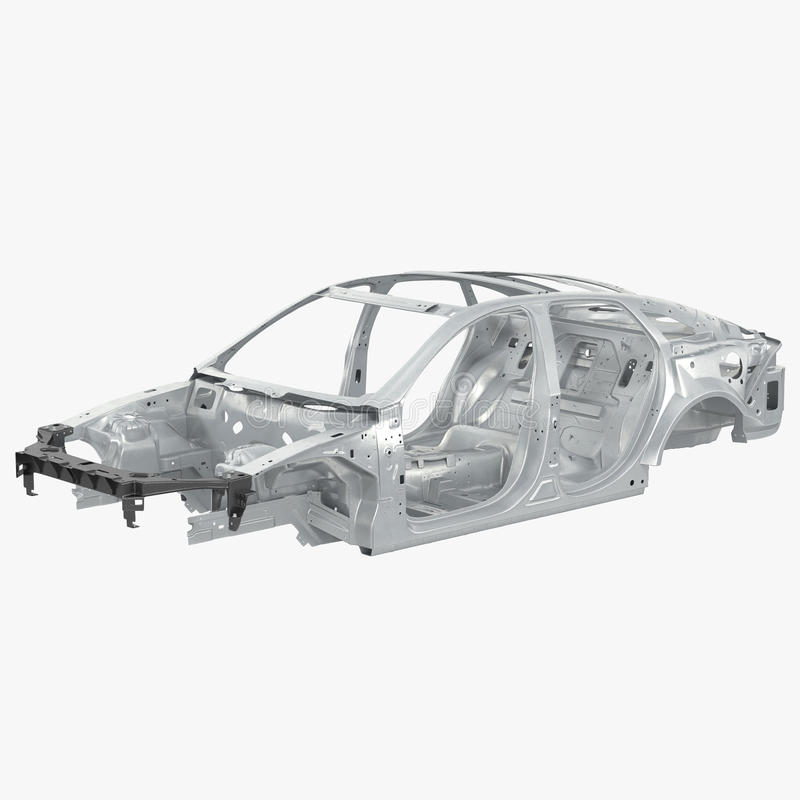 Carcass af a sedan car on white. 3D illustration. Carcass af a sedan car on white background. 3D illustration royalty free illustration