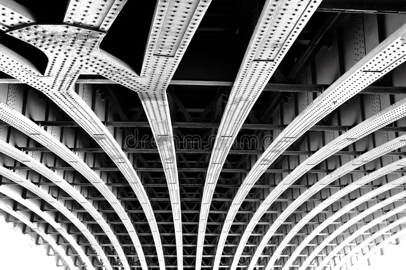 Carcass of the bridge. Technogenic abstract background royalty free stock image