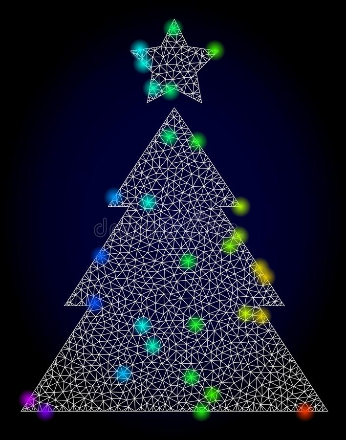 Carcassa Mesh Christmas Tree di vettore con i punti d'ardore colorati spettro illustrazione di stock