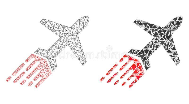 Carcassa poligonale Mesh Air Liner ed icona del mosaico illustrazione di stock