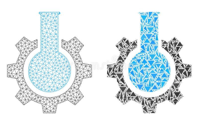 Carcassa poligonale Mesh Chemical Industry ed icona del mosaico illustrazione vettoriale