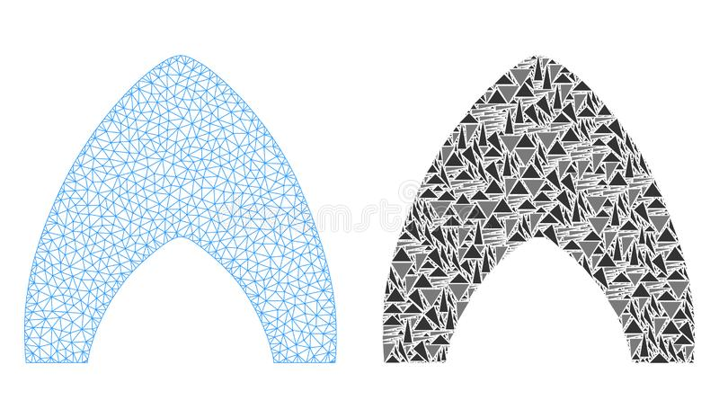 Carcassa poligonale Mesh Igloo Home ed icona del mosaico illustrazione vettoriale