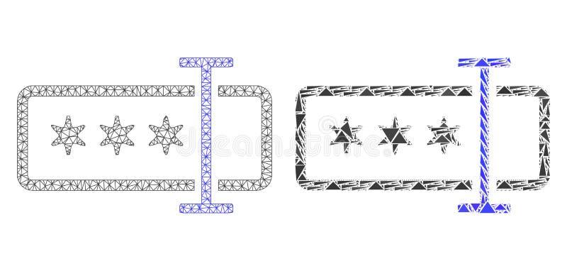 Carcassa poligonale Mesh Password Field ed icona del mosaico illustrazione vettoriale