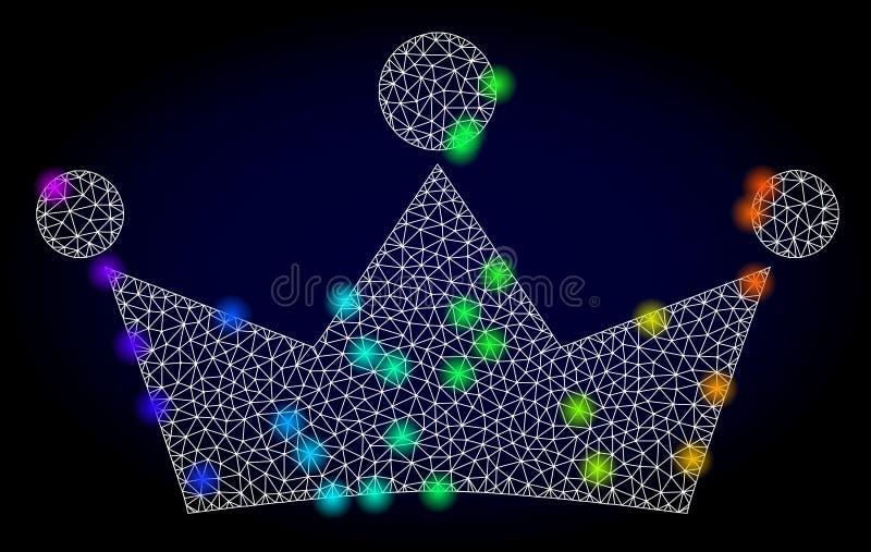 Carcasse Mesh Crown de vecteur avec les taches lumineuses colorées par spectre illustration libre de droits