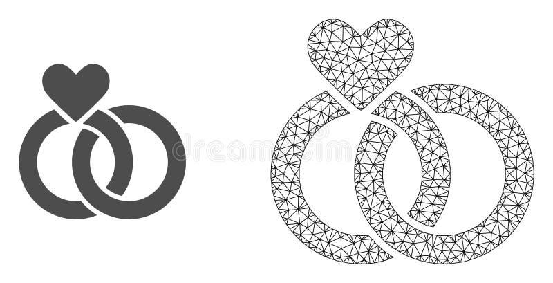 Carcasse Mesh Wedding Rings de vecteur et icône plate illustration de vecteur