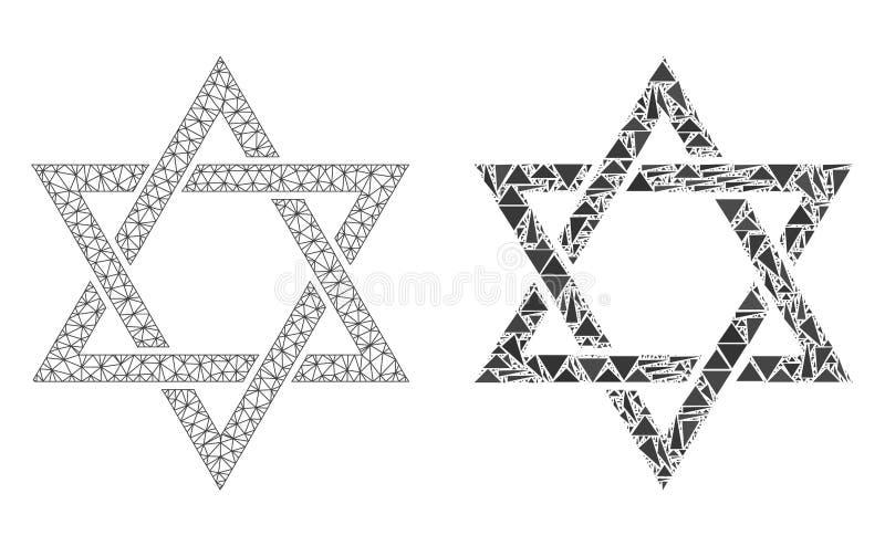 Carcasse polygonale Mesh David Star et icône de mosaïque illustration stock