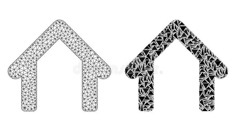 Carcasse polygonale Mesh Garage et icône de mosaïque illustration de vecteur
