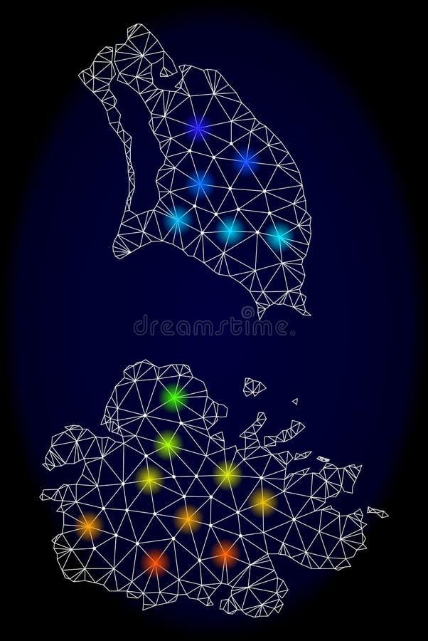 Carcasse polygonale Mesh Map de l'Antigua-et-Barbuda avec les taches lumineuses colorées illustration libre de droits