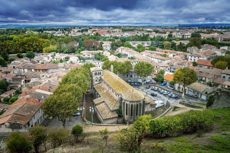 Carcassone, Ansicht der Stadt von der Festung lizenzfreie stockfotografie