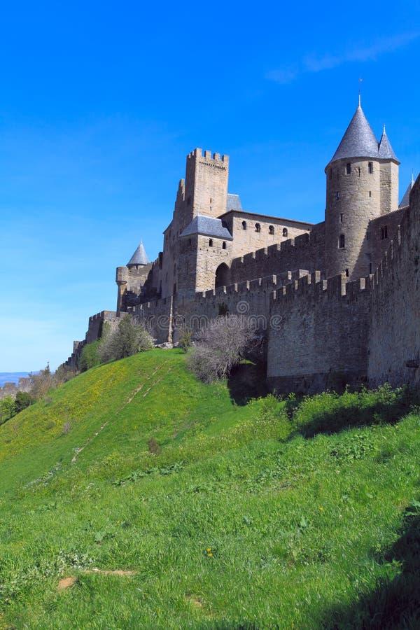 carcassonne市中世纪塔墙壁 库存照片