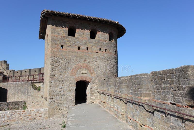 carcassonne筑了堡垒于墙壁 免版税库存照片
