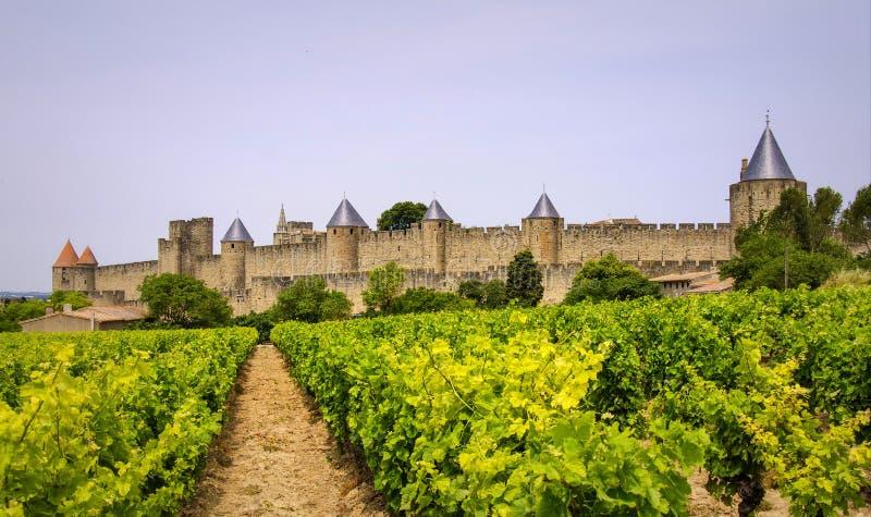 Carcassonne średniowieczny miasto w Francja fotografia stock