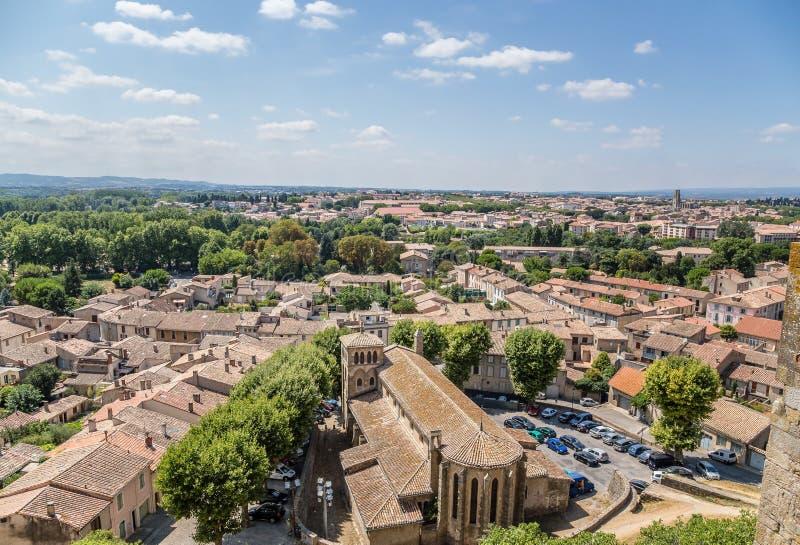 Carcassonne, Γαλλία Άποψη της παλαιάς πόλης από το φρούριο στοκ εικόνα