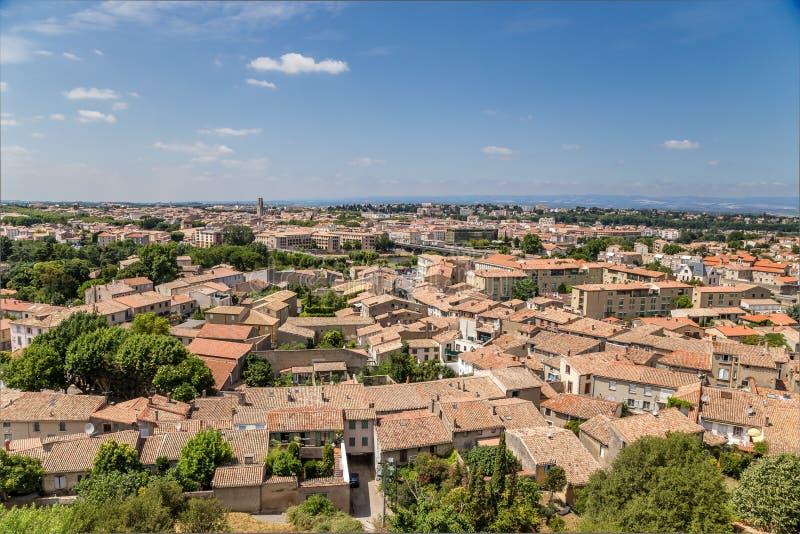Carcassonne, Γαλλία Άποψη της πόλης πύργων στοκ εικόνα