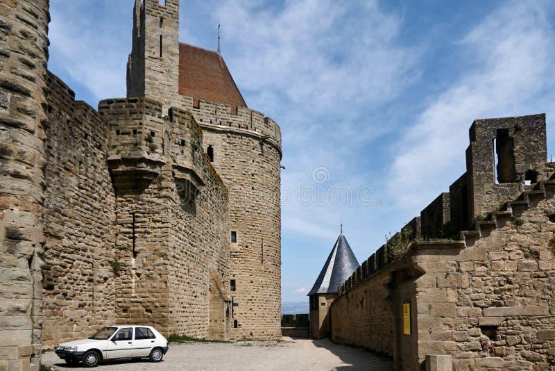 Carcassonne - εντυπωσιακό πόλη-φρούριο στη Γαλλία στοκ φωτογραφία με δικαίωμα ελεύθερης χρήσης