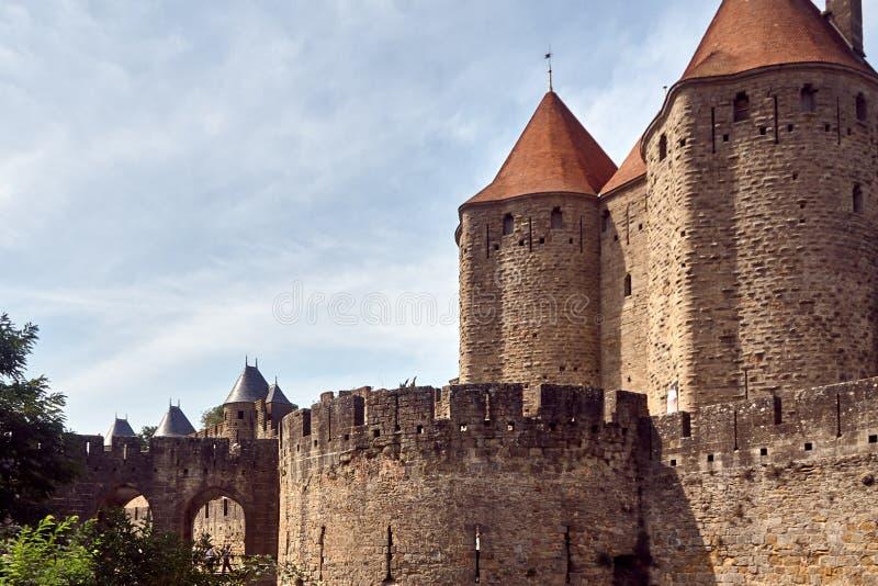 Carcassonne - εντυπωσιακό πόλη-φρούριο στη Γαλλία στοκ φωτογραφίες με δικαίωμα ελεύθερης χρήσης