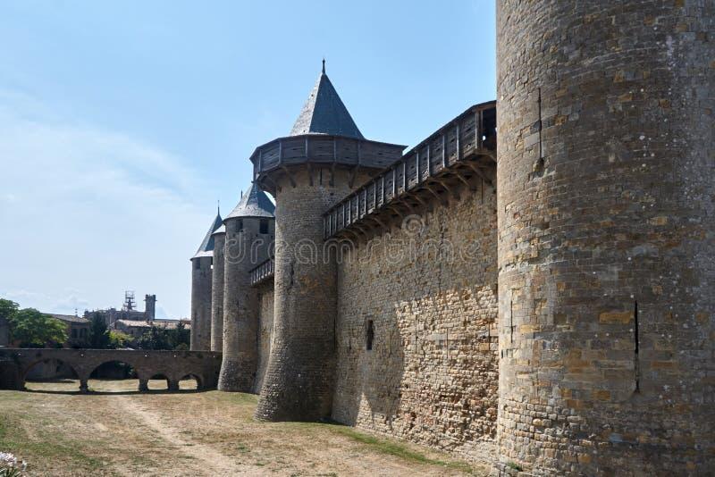 Carcassonne - εντυπωσιακό πόλη-φρούριο στη Γαλλία στοκ φωτογραφίες