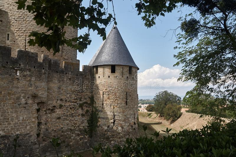 Carcassonne - εντυπωσιακό πόλη-φρούριο στη Γαλλία στοκ εικόνες