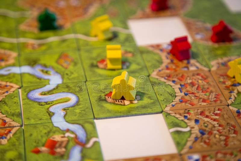 Carcassonne-Brettspiel stockfoto